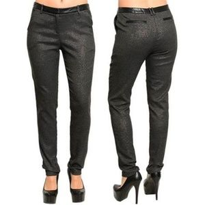 🆕️Charcoal Leather Detailed Dress Pants
